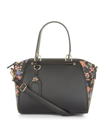 Black Floral Printed Side Mini Bowler Bag