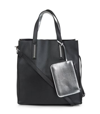 Black Metallic Trim Tote Bag