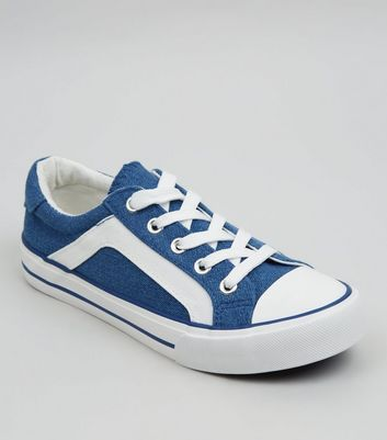 Teens Blue Contrast Stripe Lace Up Trainers