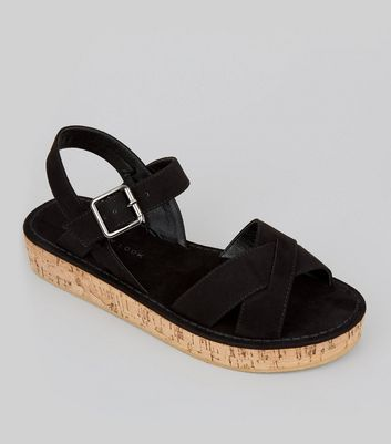 Teens Black Suedette Cross Front Cork Sole Sandals