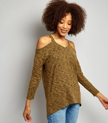 Green Cold Shoulder Long Sleeve Top