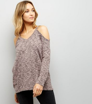 Pink Cold Shoulder Long Sleeve Top