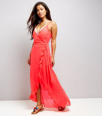 Coral Frill Trim Wrap Front Maxi Beach Dress