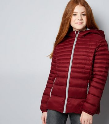 Teens Red Lightweight Puffer Jacket