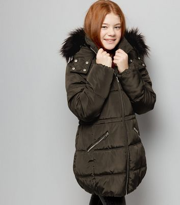 Teens Khaki High Shine Faux Fur Trim Hooded Puffer Jacket