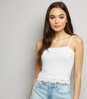 White Lace Trim Cropped Cami Top