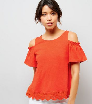 Orange Crochet Lace Hem Cold Shoulder Top
