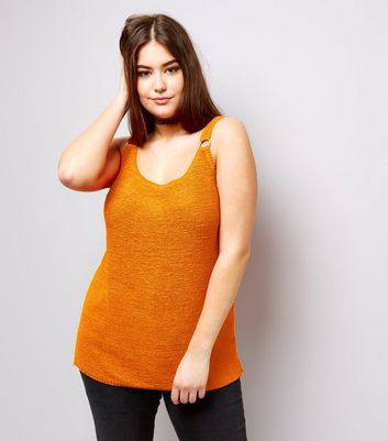 Curves Orange Ring Trim Step Hem Vest