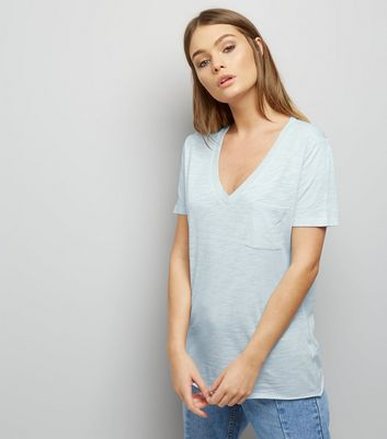 Pale Blue Organic Cotton V Neck T-Shirt