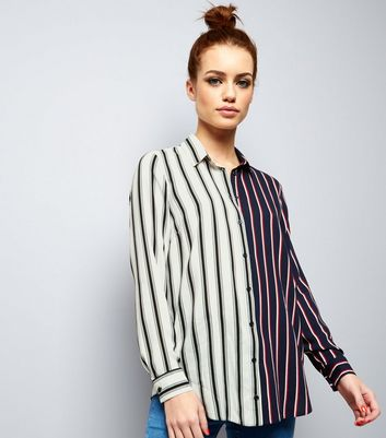 Petite White Spliced Stripe Shirt