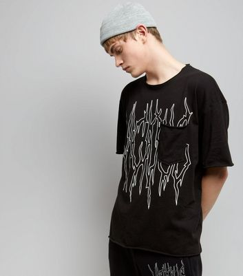 Black Viscious Print Pocket Front T-Shirt