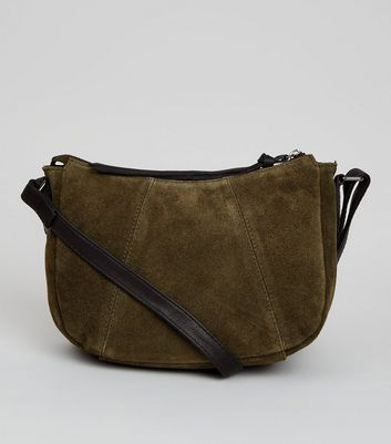 Khaki Suede Cross Body Bag