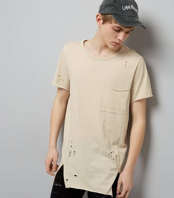 Stone Distressed Pocket Front Longline T-Shirt