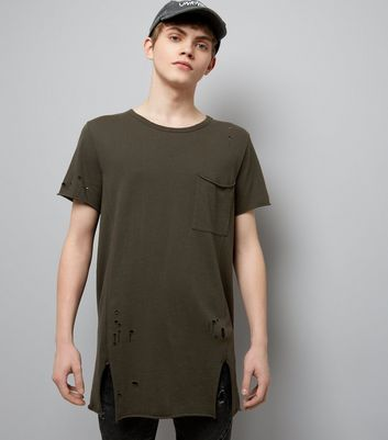 Dark Green Distressed Pocket Front Longline T-Shirt