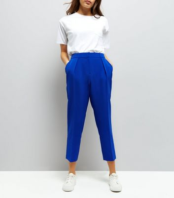 Blue Pleat Front Trousers