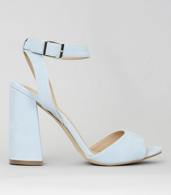 Pale Blue Block Heels