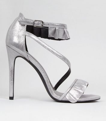 Silver Frill Strap Heeled Sandals