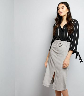 Grey Belted Split Front Midi Skirt