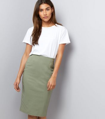 Khaki Bengaline Split Back Midi Pencil Skirt