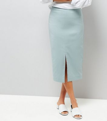 Mint Green Split Side Midi Pencil Skirt