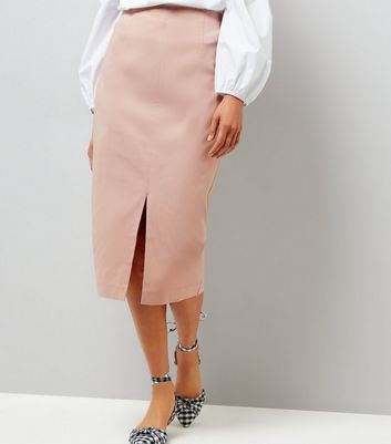 Shell Pink Split Side Midi Pencil Skirt