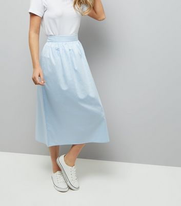 Pale Blue Balloon Midi Skirt