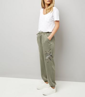 Olive Green Embroidered Joggers