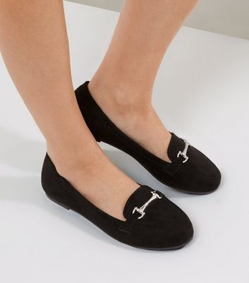 Wide Fit Black Suedette Snaffle Loafers