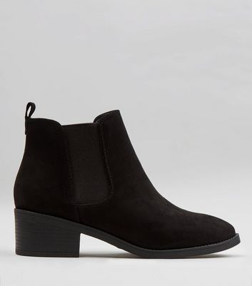 Wide Fit Black Suedette Pointed Chelsea Boots