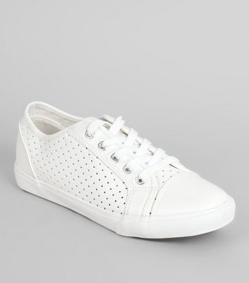 Wide Fit Perforated Lace Up Trainers