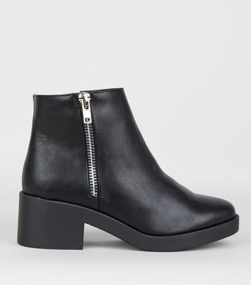 Wide Fit Black Side Zip Chunky Boots