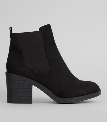 Wide Fit Black Elasticated Side Chelsea Boots
