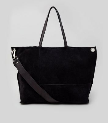 Black Suede Stitch Detail Tote Bag