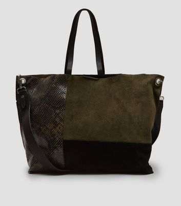 Khaki Suede Colour Block Tote Bag