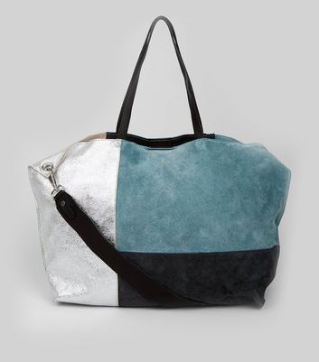 Blue Suede Metallic Colour Block Tote Bag