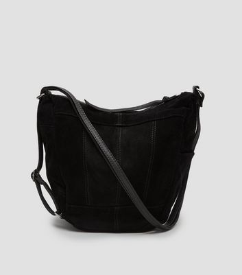 Black Suede Hobo Backpack