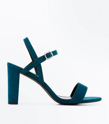 Wide Fit Teal Suedette Cross Strap Side Heels