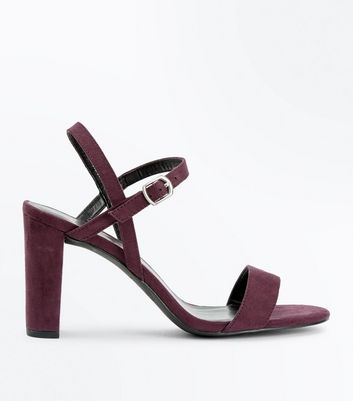 Wide Fit Purple Suedette Cross Strap Side Heels