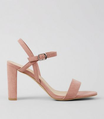 Wide Fit Pink Suedette Cross Strap Side Heels