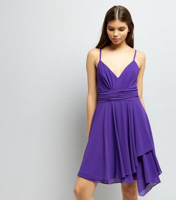 Purple Asymmetric Hem Chiffon Prom Dress