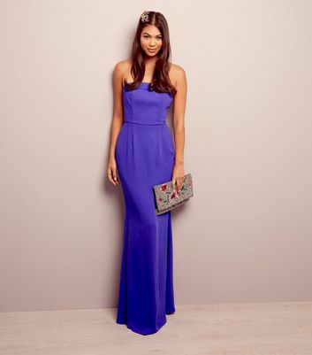 Purple Bardot Maxi Bridesmaid Dress