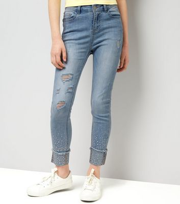 Teens Blue Gem Studded Skinny Jeans
