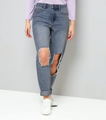 Teens Blue Ripped Knee Mom Jeans