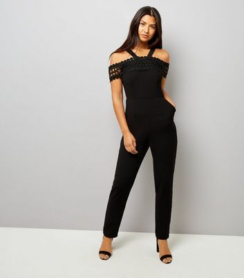 Black Crochet Lace Trim Jumpsuit