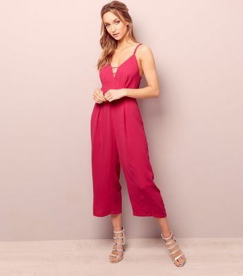 Bright Pink Cross Strap Back Culotte Jumpsuit