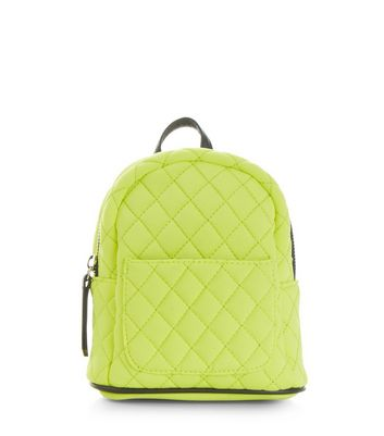 Yellow Quilted Mini Backpack
