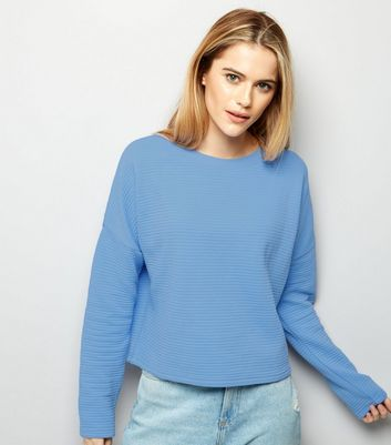 Blue Ripped Batwing Sleeve Cropped Sweater