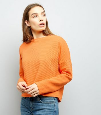 Bright Orange Ribbed Batwing Sleeve Cropped Sweater