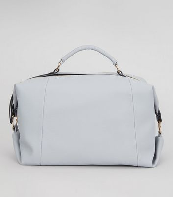 Pale Blue Leather-Look Bowler Bag