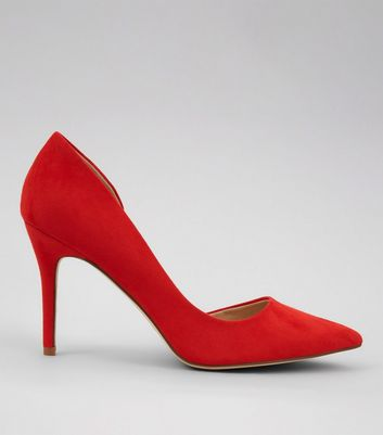 Red Suedette Pointed Heels